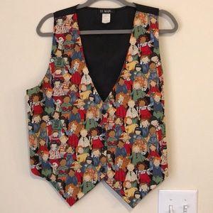 111 Main vintage children print vest size L